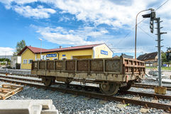 Huge cart seen over the railway tracks in front of Nova Hut Royalty Free Stock Image