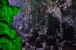 Huge cavern in Ha Long Bay Vietnam stock photo