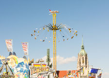 Huge Chairoplane at the Oktoberfest in Munich Stock Photos