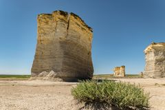 Huge chalk pyramids of Monument Rocks in western Kansas, United States of America. Rising from the flat plains near Oakley, Kansas, the so-called Monument Rocks royalty free stock photo