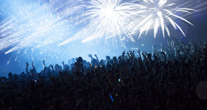 Huge cheering crowd at concert Stock Image