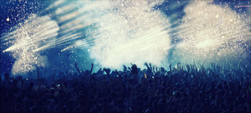 Huge cheering crowd at concert Royalty Free Stock Photo