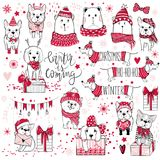A huge Christmas collection with cute dogs, bears, gifts, snowfl Stock Photos