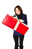 Huge Christmas Present. Portrait Of A Cute Woman Holding A Big Christmas Present Royalty Free Stock Image