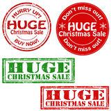 Huge Christmas Sale. Set of stamps with text Huge Christmas Sale,vector illustration royalty free illustration