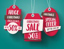 Huge Christmas sale vector set of red sale tags hanging with 50% off text. And with origami paper style for holiday discount promotion. Vector illustration Royalty Free Stock Images