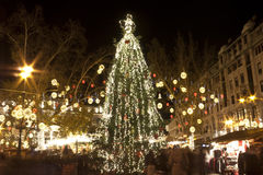 Huge christmas tree in Budapest. Huge christmas tree at a christmasfair on the Vorosmarty square in Budapest royalty free stock image