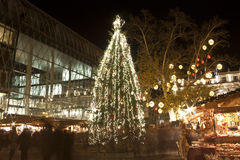 Huge christmas tree in christmas fair in Budapest Stock Images
