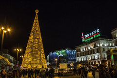 Huge christmas tree made of lights at Puerta del Sol square in Madrid. Madrid, Spain - December 1st, 2015 - Huge christmas tree made of lights at Puerta del Sol Stock Image