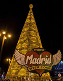 Huge christmas tree made of lights at Puerta del Sol square in Madrid Stock Photos