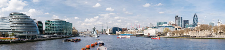 HUGE-City of London. Panoramic picture of City of London with lots of tourists (including City Hall, Gherkin, Tower 42, and HMS Belfast stock photos