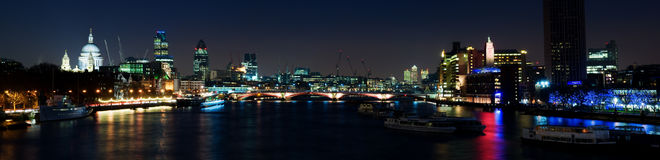 HUGE- City of London at night. River Thames and the City of London at sunset royalty free stock photography