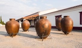 Huge clay wine containers in Alentejo region, Portugal stock photo