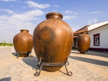 Huge clay wine containers in Alentejo region, Portugal royalty free stock photos