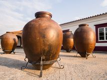 Huge clay wine containers in Alentejo region, Portugal royalty free stock photography