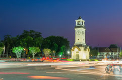 Huge clock circle. Locate on main street in Lampang province Thailand stock photos