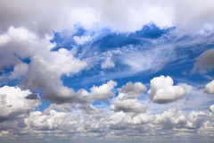 Huge cloudscape with different clouds from horizon.  Stock Image