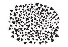 Huge cluster of hearts. Huge Cluster of Black Hearts Vector Banner. A Lot of Doodle Beautiful Hearts. Love Shapes Confetti Original Abstract Background royalty free illustration