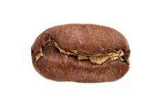 Huge coffee bean closeup. Isolated on white background Royalty Free Stock Image
