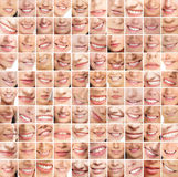 A huge collage of many different female smiles Royalty Free Stock Photography