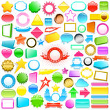 Huge collection of colourful labels. Huge collection of colourful 3d labels and buttons in different shapes, colours and sizes for use in gifts, print, internet Stock Images