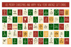 Huge collection Merry Christmas and Happy New Year vintage gift tags cards with calligraphy. Merry Christmas and Happy New Year vintage gift tags and cards with Stock Image
