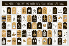 Huge collection Merry Christmas and Happy New Year vintage gift tags cards with calligraphy. Merry Christmas and Happy New Year vintage gift tags and cards with Stock Photo