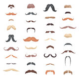 Huge collection mustache retro curly set.  different colors and forms hair. Mustaches barber silhouette hairstyle Royalty Free Stock Photos