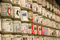 The huge collection of sake barrels. Royalty Free Stock Photo