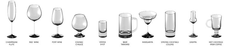 3D illustration of big set of various glasses for cocktails and wine and other drinks isolated on white, side-top view - drinking. Huge collection of various stock illustration