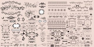 Huge collection of vector calligraphic elements and decorat Royalty Free Stock Photo