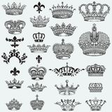 Huge collection of vector crowns for design Royalty Free Illustration