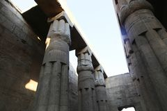 Huge columns as lotus flower Luxor temple. View of huge columns as lotus flower Luxor temple stock photo