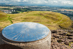 Huge compass on the top of Artur's Seat mountain Stock Photography