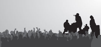 Huge Concert. Silhouette perfect for adding text above the crowd Stock Photo