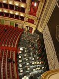 The huge concert hall of the Vienna National Opera. stock photo