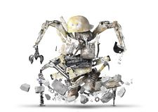 Huge construction robot stock photography