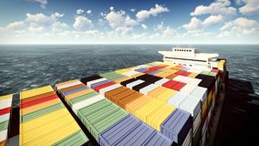 Huge container on way to port 3d rendering Royalty Free Stock Image