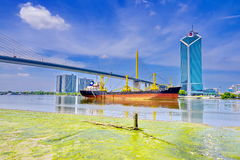 Huge Container Ship entering port of Bangkok Royalty Free Stock Photography