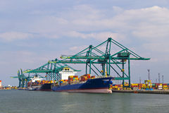 Huge container ship loaded with cranes in Antwerp container term Stock Photography