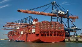 Huge container ship in Rotterdam harbour Stock Image
