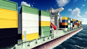 Huge container on way to port 3d rendering Stock Images