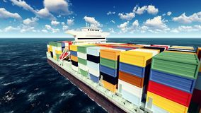 Huge container on way to port 3d rendering Royalty Free Stock Images
