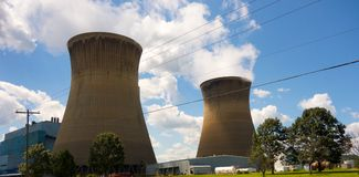 Huge cooling towers for a power plant in america stock image