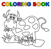 Huge cow eating in the field for coloring. Illustration Stock Images
