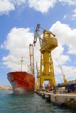 Huge Crane and Container Ship Royalty Free Stock Photo