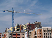 Huge Crane on Top of a Building Stock Photography