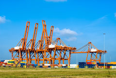 Huge cranes and containers Royalty Free Stock Image