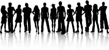Huge crowd. Silhouette of a huge crowd of people on a white background royalty free illustration