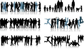 Huge crowd. Silhouettes of huge crowd. Illustration Stock Images